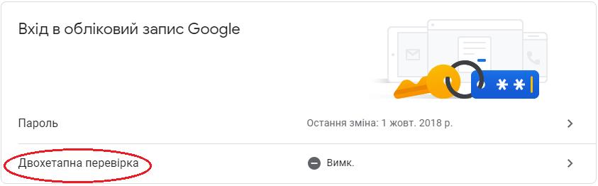 Вхід в обліковий запис Google